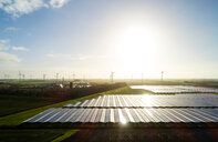 Field landscape with the largest solar farm in Netherlands, situated near Delfzijl harbour - CUF48733