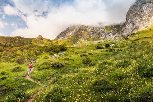 Hiker near Fuente De in national reserve Parque National de los Picos de Europa, Potes, Cantabria, Spain - CUF48784