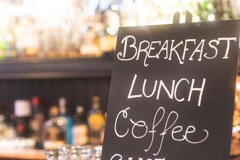 Blackboard advertising meals in pub - CUF48934