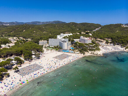 Spain, Balearic Islands, Mallorca, Region Calvia, Costa de la Calma, Peguera, Aerial view of beach with hotels - AMF06781