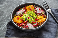 Red Quinoa salad with avocado, tomatoes, red radishes, pomegranate seeds, black sesame and cress - SARF04102