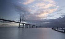 Portugal, Lisbon, Vasco da Gama bridge in the morning - FCF01678