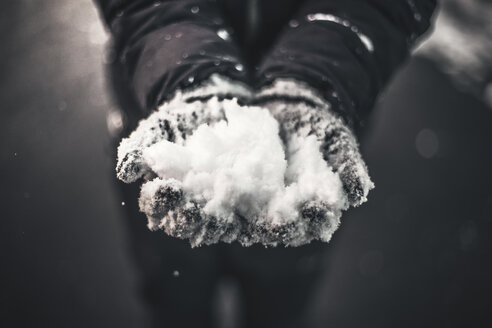 Close-up of hands with gloves catching snow - ACPF00462