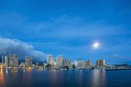 USA, Hawaii, Oahu, Honolulu and Ala Wai Boat Harbor at blue hour - FOF10314