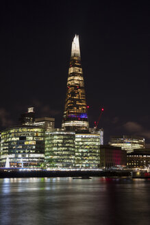 United Kingdom, England, London, Southwalk, River Thames with City Hall and The Shard at night - WIF03820
