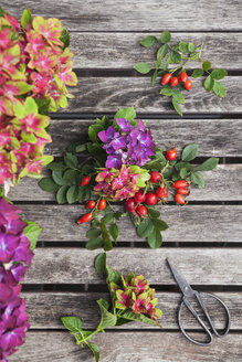 hydrangeas and rosehips garden harvest on vintage garden table with secateurs - GWF05872