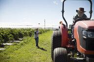 Grandson farmer chasing grandfather driving tractor on sunny farm - HEROF20901