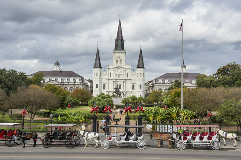 USA, New Orleans, horse-drawn carriages at Jackson square and the St. Louis Cathedral, French quarter - RUN01171