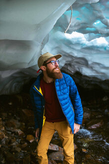 Hiker exploring, Mineral King, California, United States - ISF20839