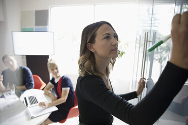 Businesswoman with dry erase marker working at whiteboard in conference room meeting - HEROF21972