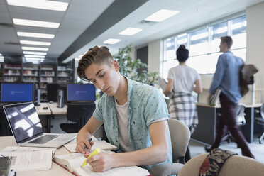Male college student studying in library - HEROF22635