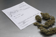 Medical marijuana prescription and buds - HEROF22650