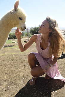 Blond mature woman stroking young alpaca - ECPF00489