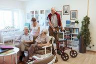 Senior friends talking in nursing home - MASF11133