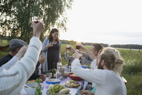 Friends toasting pregnant woman at garden party dinner table - HEROF22882