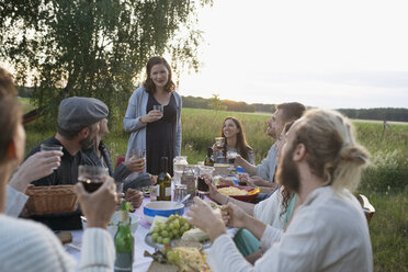 Pregnant woman toasting friends at garden party dinner in rural yard - HEROF23275