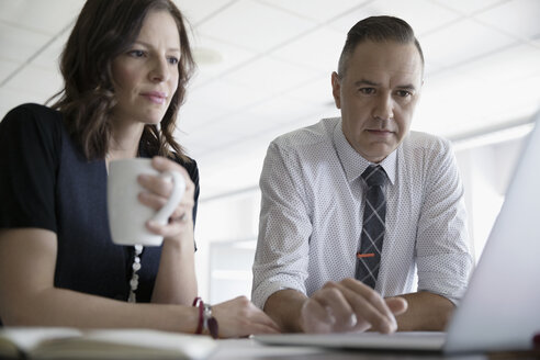 Serious businessman and businesswoman working at laptop in office meeting - HEROF23281
