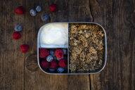 Breakfast box with granola, quinoa nuts, greek yogurt, blueberries and raspberries - LVF07797