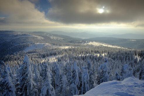 Ausblick über die Winterlandschaft, Großer Arber, Naturpark Bayerischer Wald, Niederbayern, Bayern, Deutschland, - LBF02370