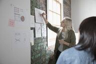 Creative businesswoman leading meeting, explaining paperwork in office - HEROF23911