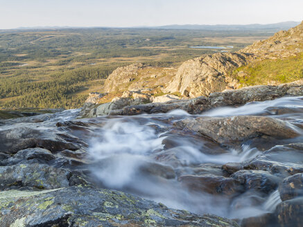 Jamtland, Sweden, Silverfallet waterfall and view over Enafors plain - HUSF00019