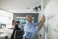 Businessman brainstorming strategy at whiteboard in conference room meeting - HEROF24181