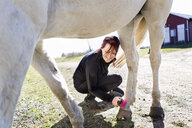 Happy woman brushing horse's leg while crouching on field - ASTF03356