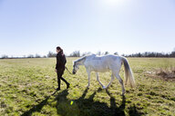 Woman walking with horse on field against clear sky - ASTF03359