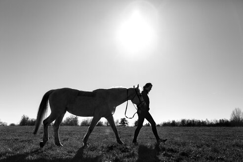 Female walking with horse on grassy field against clear sky - ASTF03371