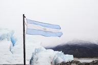 Argentina, Patagonia, Argentinan flag at Perito Moreno Glacier - IGGF00778
