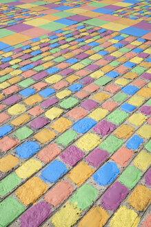 Argentina, Buenos Aires, La Boca, Colorful pavement - IGGF00793