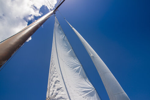 Fiji, Mamanuca islands, Sailing, sails against blue sky - RUNF01344