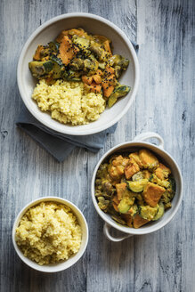 Millet with creamy vegetables, courgette, sweet potatoes and mushrooms - EVGF03415