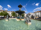 Portugal, Lisbon, Rossio place, Praca de D. Pedro IV and bronze fountain - AM06792
