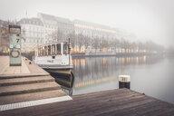 Germany, Hamburg, tourboat at Jungfernstieg in fog - KEB01176