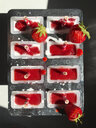 homemade strawberry-yogurth ice lollies - GWF05889