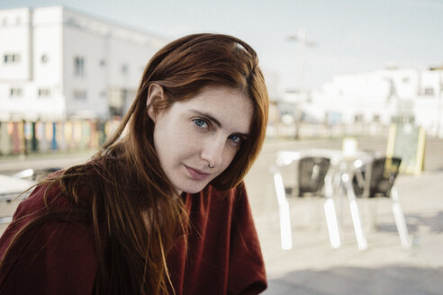 Spain, Canary Islands, Fuerteventura, portrait of redheaded young woman with nose piercing - AFVF02469