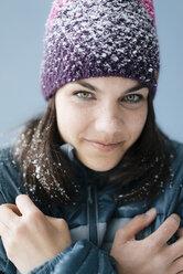 Portrait of a woman, wearing wooly hat - KNSF05687