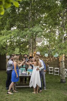 Bride, groom and wedding guests toasting wine reception - HEROF25530