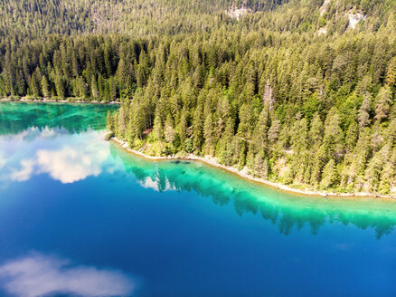 Italy, Trentino - Alto Adige, Non valley, Aerial view of lake Tovel in Summer - LOMF00843