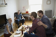 Homosexual and heterosexual couples hanging out living room - HEROF26053
