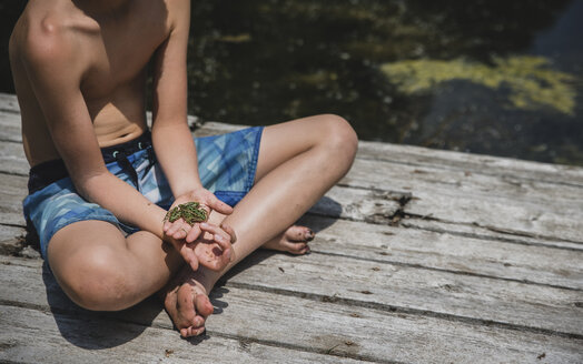 Low section of shirtless boy holding frog while sitting on wooden pier over lake - CAVF61474