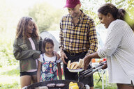 Family barbecuing at campsite - CAIF22828