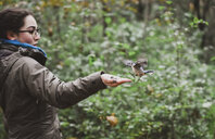 Excited girl feeding seeds to white breasted nuthatch by plants in forest - CAVF61759
