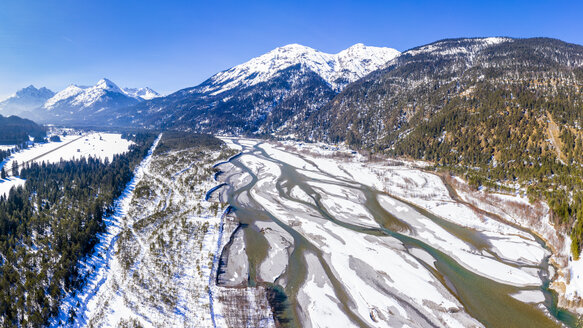 Austria, Tirol, Lech valley, Lech river in winter, aerial image - STSF01867