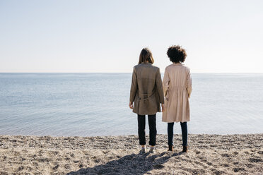 Back view of two friends standing on the beach looking at the sea - JRFF02809