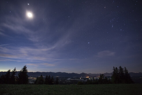 Germany, Bavaria, Allgaeu, Auerberg by night - DLF00040