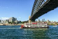 Australia, New South Wales, Sydney, vintage boat under the Sydney bridge - KIJ02351