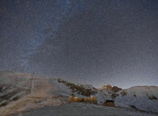 Italy, Abruzzo, Gran Sasso and Monti della Laga Park, Campo Imperatore, observatory by night in winter - LOMF00848