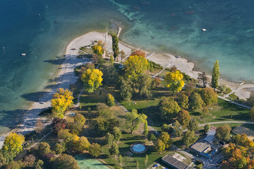 Germany, Baden-Wuerttemberg, Lake Constance, Constance, aerial view lido Hoernle in autumn - SH02110